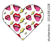 pattern shape heart with mouth... | Shutterstock .eps vector #1016581228