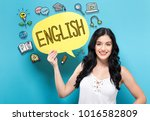 english with young woman... | Shutterstock . vector #1016582809