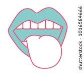 mouth tongue out vintage emblem | Shutterstock .eps vector #1016584666