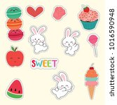 set of cute sticker with rabbit | Shutterstock .eps vector #1016590948