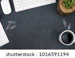 office desk with keyboard ... | Shutterstock . vector #1016591194