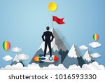 businessman on the rocket... | Shutterstock .eps vector #1016593330