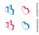 new like and love icons of... | Shutterstock .eps vector #1016597944