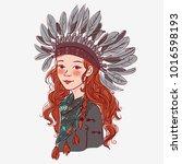cute american indian girl   Shutterstock .eps vector #1016598193