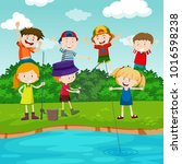 happy children fishing in the... | Shutterstock .eps vector #1016598238
