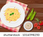 spaghetti and soup on the table ... | Shutterstock .eps vector #1016598250