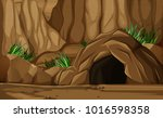 background scene with cave in...   Shutterstock .eps vector #1016598358