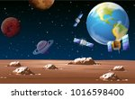 space scene with satellites and ... | Shutterstock .eps vector #1016598400