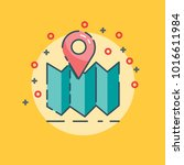 flat maps with pin icon | Shutterstock .eps vector #1016611984