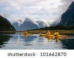 sea kayak in milford sound  new ... | Shutterstock . vector #101662870