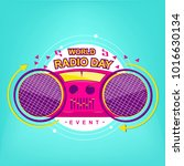 wolrd radio day logo event with ... | Shutterstock .eps vector #1016630134