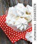 white meringue cookies in... | Shutterstock . vector #1016633278