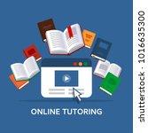 online tutoring  concept. e... | Shutterstock .eps vector #1016635300