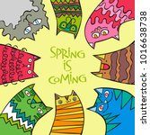 spring is coming. cats.... | Shutterstock .eps vector #1016638738