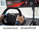 a view of a simulator racing... | Shutterstock . vector #1016639038