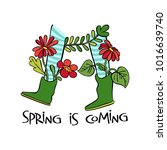 spring is coming. rubber boots. ... | Shutterstock .eps vector #1016639740