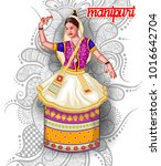 illustration of indian manipuri ... | Shutterstock .eps vector #1016642704