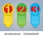 One, Two, Three vertical vector progress icons in colors - stock vector