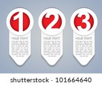 One, Two, Three vertical vector progress icons in White - stock vector