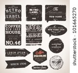 Stock vector old dark retro vintage grunge labels set dirty texture 101665270