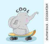 cute elephant cartoon hand... | Shutterstock .eps vector #1016664364