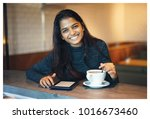 portrait of a young attractive... | Shutterstock . vector #1016673460