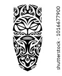 leg tattoo with face with beard ... | Shutterstock .eps vector #1016677900