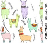 lama colorful pattern | Shutterstock .eps vector #1016682706