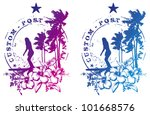 surf stamp with beauty lady... | Shutterstock .eps vector #101668576