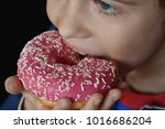 the child eats a donut | Shutterstock . vector #1016686204