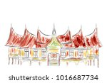 simple sketch of west sumatera... | Shutterstock .eps vector #1016687734