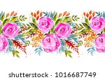 watercolor seamless floral... | Shutterstock . vector #1016687749