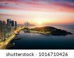 busan beach with sunrise sky on ...   Shutterstock . vector #1016710426
