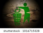 green recycle sign painted on...   Shutterstock . vector #1016715328