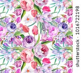 colorful flowers pattern... | Shutterstock . vector #1016722198