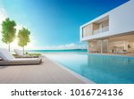 luxury beach house with sea... | Shutterstock . vector #1016724136