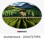 hand drawn landscape. antique... | Shutterstock .eps vector #1016727493