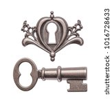 old key and keyhole isolated on ...   Shutterstock . vector #1016728633