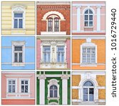 windows of of an old building.... | Shutterstock . vector #1016729440