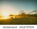 santa monica beach pier in... | Shutterstock . vector #1016729524