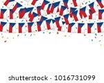 czech flags garland white... | Shutterstock .eps vector #1016731099