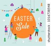 happy easter scene with... | Shutterstock .eps vector #1016738548