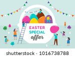 happy easter scene with... | Shutterstock .eps vector #1016738788