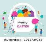 happy easter scene with... | Shutterstock .eps vector #1016739763