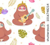 cute seamless pattern with... | Shutterstock .eps vector #1016748214