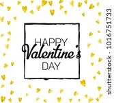 valentines day card with gold... | Shutterstock .eps vector #1016751733