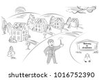 welcome to drawtown   suburban... | Shutterstock .eps vector #1016752390