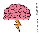 brain in side view with lightning in watercolor silhouette   Shutterstock vector #1016757028