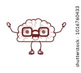 brain cartoon with glasses and... | Shutterstock .eps vector #1016760433