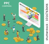 ppc campaign flat isometric... | Shutterstock .eps vector #1016763646